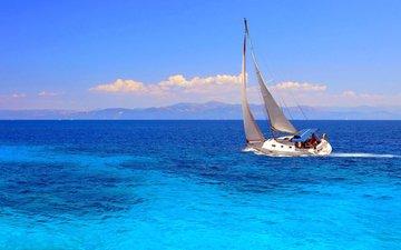 путь, океан, яхта, ветер, паруса