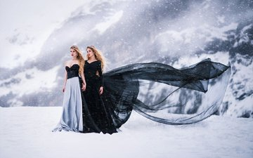 снег, платье, лёд, черный, белый, красавица, белая, модели, блака, анна, моделей, в платье, venkara