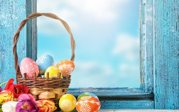 flowers, spring, basket, tulips, window, easter, eggs, decoration, happy