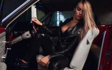 девушка, модель, черная, автомобиль, куртка, салон