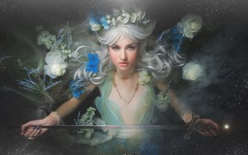 flowers, blonde, sword, style, girl