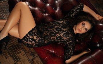 девушка, платье, брюнетка, модель, черное, диван, плейбой, gевочка, playboyplus, nikki play, сексапильная, модел