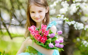 девочка, весна, тюльпаны, ребенок, девочки, маленькая, тульпаны
