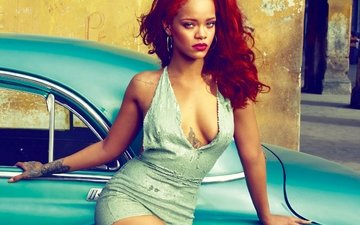 music, look, red, model, chest, singer, rihanna