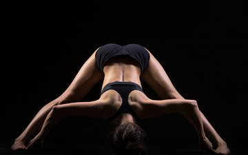 девушка, поза, спина, сзади, йога, потягивается