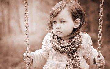 сепия, девочка, ребенок, девочки, цепь, качели, маленькая, шарф, дитя