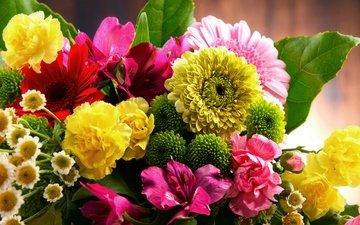букет, лилии, герберы, гвоздики, букеты, альстрёмерия