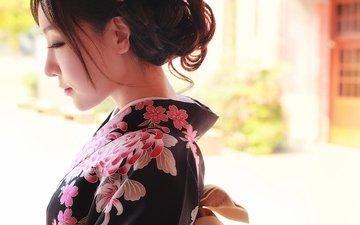 стиль, лицо, одежда, кимоно, азиатка
