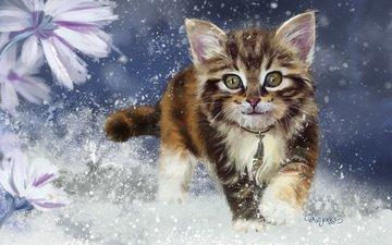 art, snow, winter, kitty, children's, lorri kajenna