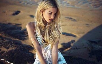 берег, девушка, море, блондинка, песок, пляж, модель, вс, купальники, кружева, брилианты, anastasia vervueren, golden hours