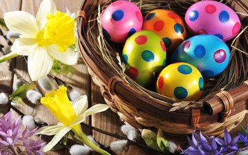 flowers, spring, easter, eggs, holiday, wood, happy, colorful