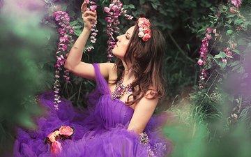 цветы, украшения, девушка, платье, бижутерия, фиолетовое, цветы, в платье, лиловая