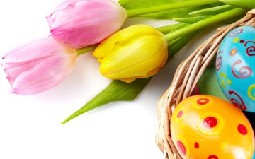 flowers, spring, tulips, easter, eggs, decoration, happy