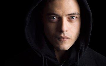 look, black background, face, the series, hood, closeup, mr. robot, rami malek, tv series