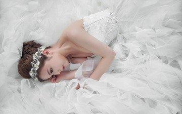 девушка, прическа, азиатка, белое платье, невеста