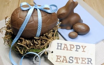 easter, eggs, chocolate, decoration, spring, happy