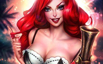 арт, девушка, улыбка, мушкет, рыжая, грудь, лицо, miss fortune, лига легенд, bounty hunter