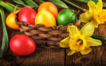 flowers, spring, easter, eggs, decoration, happy
