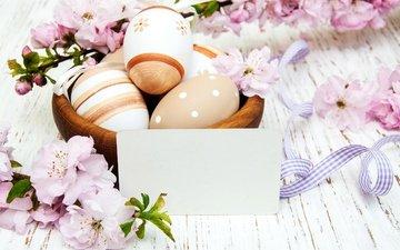 spring, basket, easter, eggs, flowers
