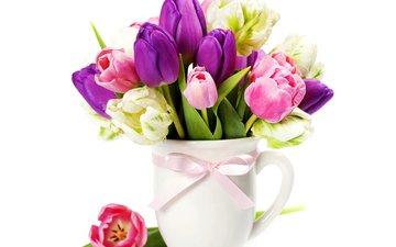 весна, букет, тюльпаны, розовые, фиолетовые, тульпаны