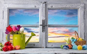 flowers, spring, tulips, window, easter, eggs, decoration, happy