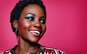 девушка, улыбка, актриса, афро, люпита нионго, лупита нионго