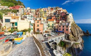 скалы, берег, пейзаж, море, горизонт, лодки, дома, италия, манарола