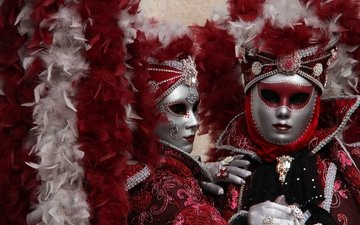 маска, венеция, перья, костюм, карнавал
