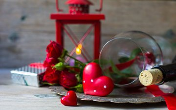 flowers, roses, heart, glass, lantern, wine, bottle, holiday, tray, dish