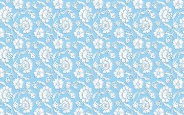 flowers, blue, 3d