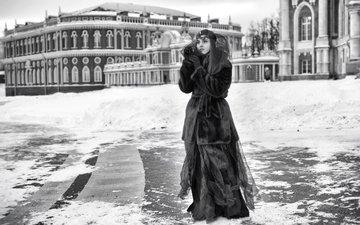 зима, маска, платье, площадь, шуба