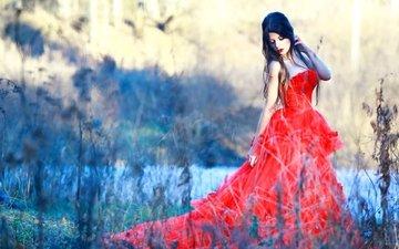 природа, платье, брюнетка, красное