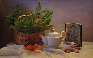 елка, настроение, корзина, чай, печенье, мандарины