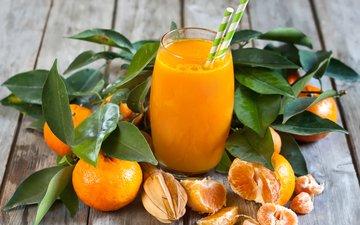 фрукты, стакан, мандарины, цитрусы, сок, фреш