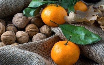 мандарины, мешковина, грецкие орехи