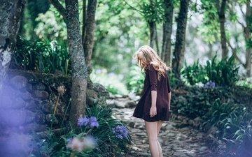 деревья, лес, девушка, платье, бикини, досуг, lightly, two persons