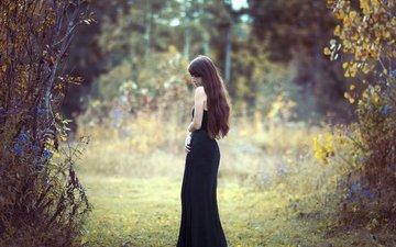 девушка, черное платье, шатенка