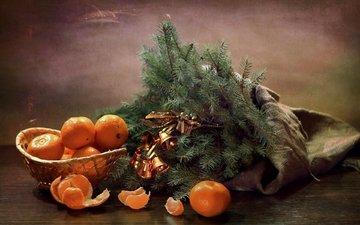 ветки, ель, колокольчики, мандарины, еловая ветка