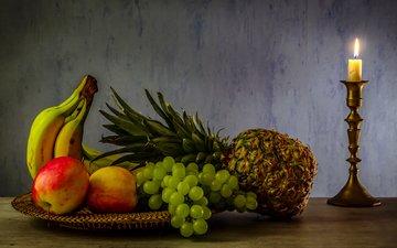 виноград, фрукты, яблоки, огонь, стол, свеча, бананы, ананас