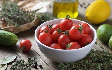 лимон, лайм, овощи, помидоры, томаты, миска, огурец, чабрец