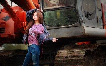 девушка, джинсы, волосы, лицо, техника, куртка, экскаватор