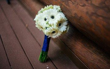 цветы, букет, белые, герберы, свадебный