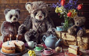цветы, ситуация, букет, игрушки, семья, чай, чаепитие, медведи, торт