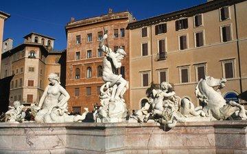дома, фонтан, италия, рим, пьяцца навона