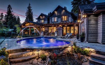 красота, дом, бассейн, подсветка
