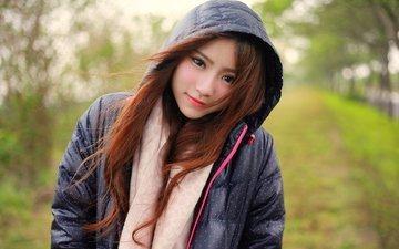 девушка, волосы, лицо, ветер, азиатка, куртка, капюшон, копюшон
