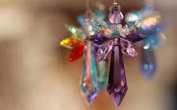 macro, colorful, glass, crystals, decoration, cross, bokeh