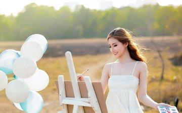 шары, девушка, картина