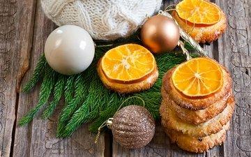 елка, игрушки, апельсин, печенье