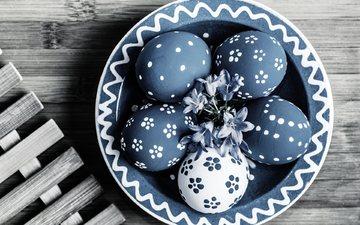 цветы, весна, синие, пасха, яйца, тарелка, зеленые пасхальные